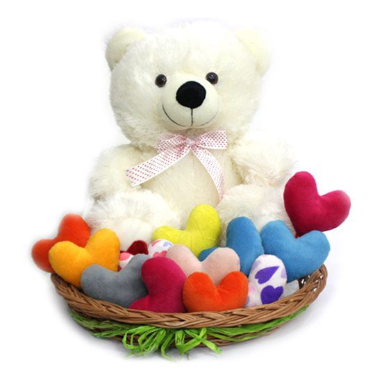 Teddy with Colourful Hearts