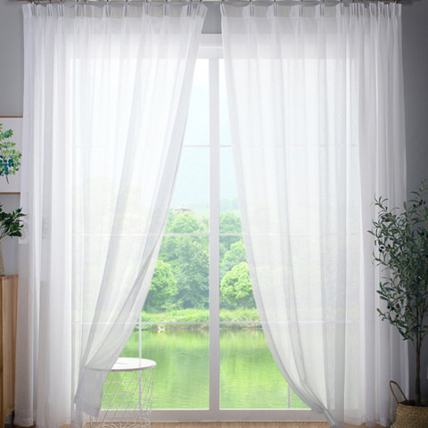 Soft White Sheer Curtains-Voila Voile